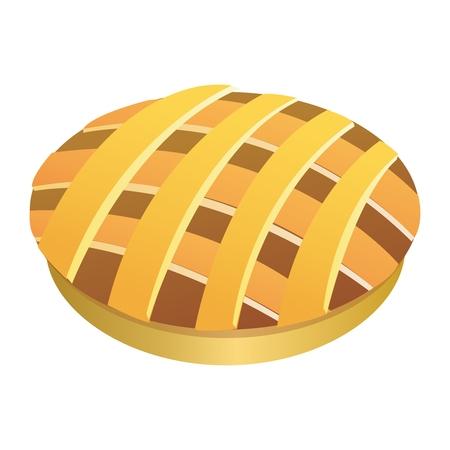 Vector verse appeltaart, Vlaai, Meat Pie Illustratie, die op een witte achtergrond