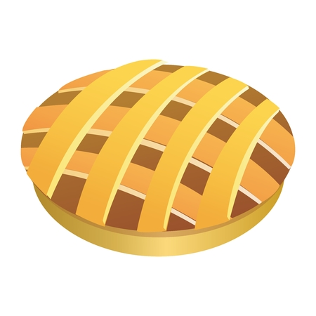 apple pie: Vector Fresh Apple Pie, Fruit Pie, Meat Pie Illustration, isolated on white background