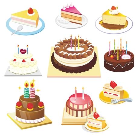 rebanada de pastel: Vector la ilustración de la torta de cumpleaños Conjunto de la colección, aislado en fondo blanco