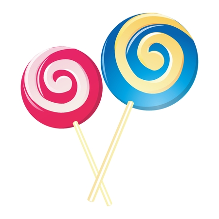 Vector Classic Cartoon Lollipop Illustration, isolated on white background