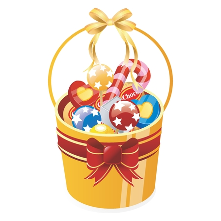 food basket: Vector Cartoon Christmas, Festive Candy Gift Bucket isolated on white background