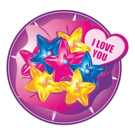 candy box: Vector Creative Funky Star Shape Candy Box Arrangement Illustration for Celebration Illustration