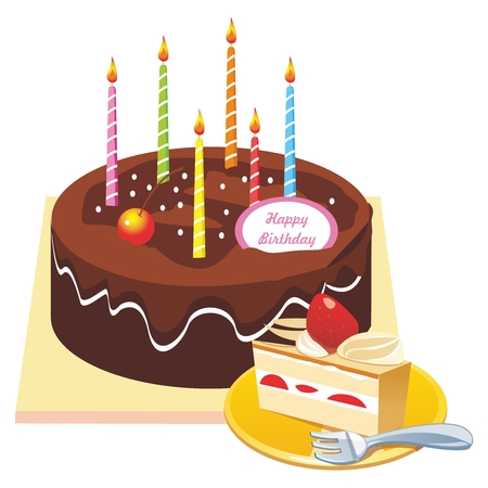 coated: Vector Chocolate Coated Happy Birthday Cake Illustration, and a cut slice on side