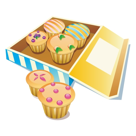 Vector Cupcake Illustration Collection Nicely Arranged in Its Box Packaging Stock Vector - 53590690