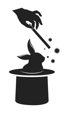 unrealistic: Vector Classic Silhouette of Magic Wand and Bunny Coming out of Top Hat