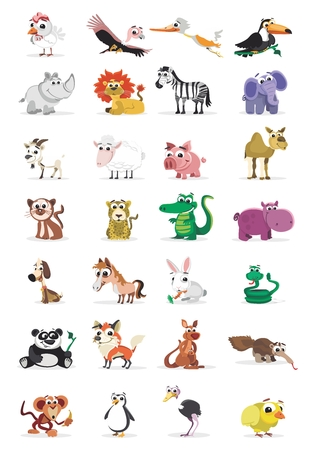 Vector Carton Animal Icon Illustration Collection, isolated on white background 向量圖像