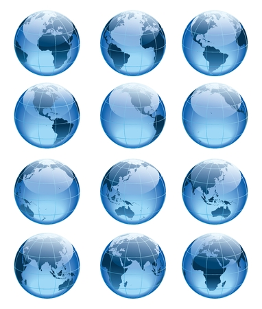 Vector 3D World Map Globe Icon Collection Illustration