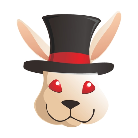 brown hare: Vector Cartoon Rabbit Head wearing Top Hat, isolated on white