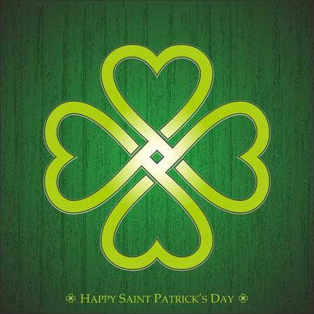 celtic background: Vector Celtic Knot of Saint Patricks Shamrock Illustration on rustic green background Illustration