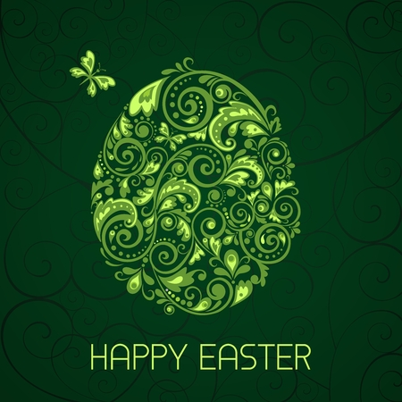 green swirl: Vector Artistic Easter Egg Illustration, green swirl ornament design