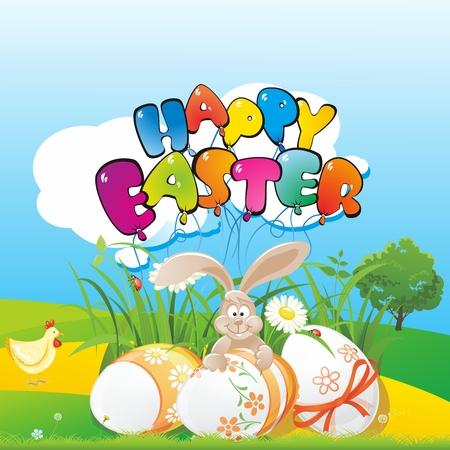 kiddish: Vector Easter Bunny and Egg Illustration, sitting in the garden celebrating
