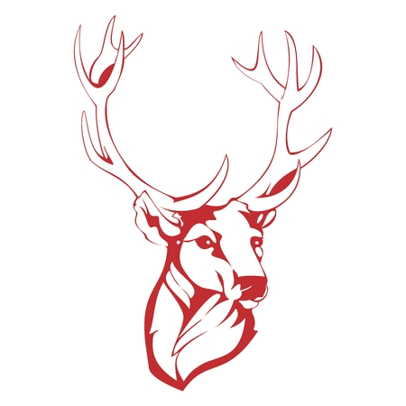 pencil drawing: Vector Simple Monochrome Deer Head Outline Sketch Illustration