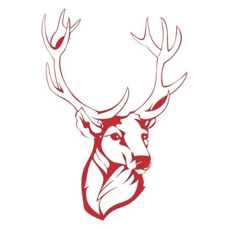 endanger: Vector Simple Monochrome Deer Head Outline Sketch Illustration