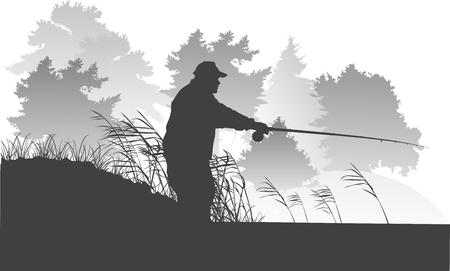 Vector Lake Fishing Fisherman Silhouette Background Illustration Vettoriali