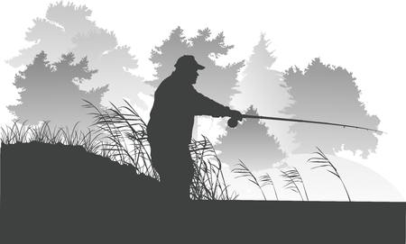 hazy: Vector Lake Fishing Fisherman Silhouette Background Illustration Illustration