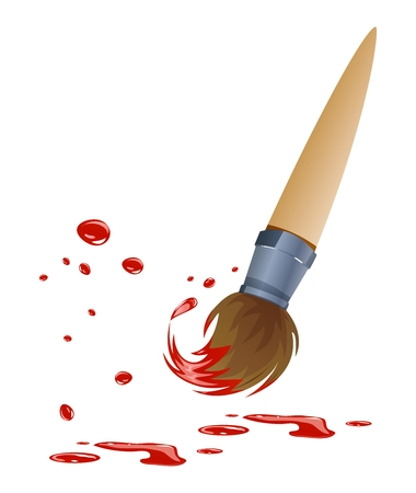 Vector Cartoon Paintbrush with Red Paint Illustration