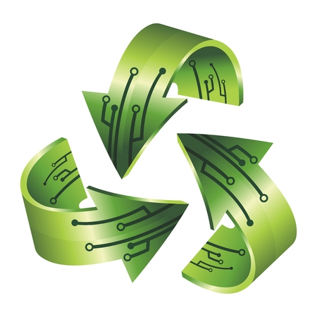 industry electronic: Creative 3D Recycling Symbol Illustration for Electronic Industry Illustration