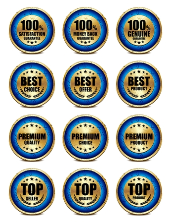 original plate: Vector 3D Realistic Rustic Satisfaction Metal Badge Collection, Blue color