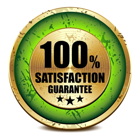 standard steel: Vector 3D Realistic Rustic Satisfaction Metal Badge, Green color