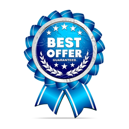 silver circle: Vector 3D Realistic Best Offer Ribbon Medal, Blue and silver Illustration