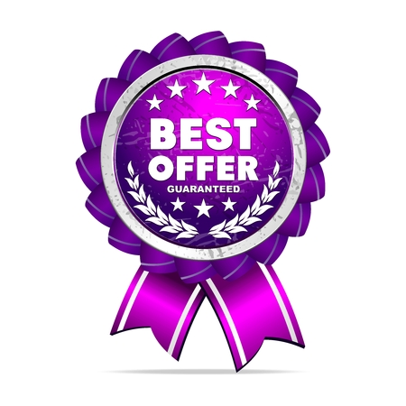 silver medal: Vector 3D Realistic Best Offer Ribbon Medal, Violet and silver