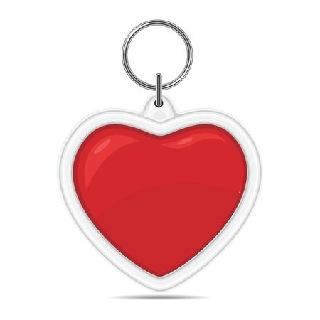 rouge: Vector Valentine Lovely Heart Illustration, 3D Heart shape key ring