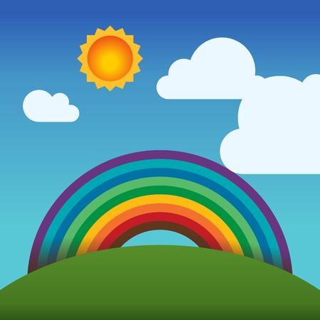 montañas caricatura: Vector de la historieta del arco iris y cielo de fondo Ilustración
