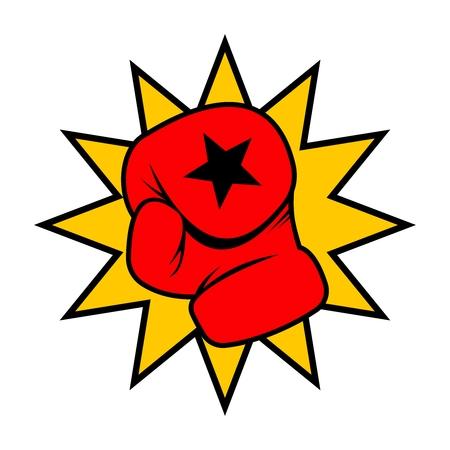 knockdown: Vector Boxing Gloves Punch Illustration on white background