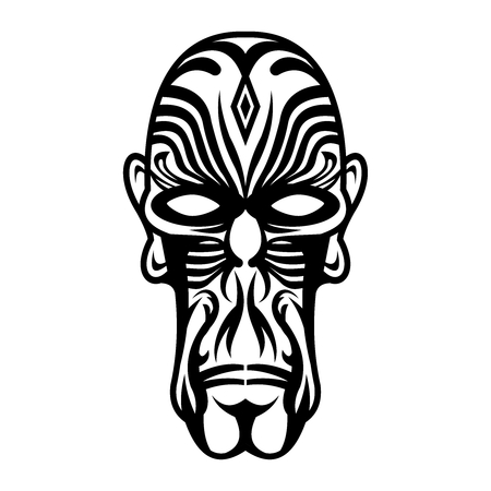 Vector Artistic Black & White Tribal Indie Face with Tattoo Drawing Illustration