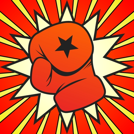kickoff: Vector Boxing Gloves Punch Illustration on dynamic background