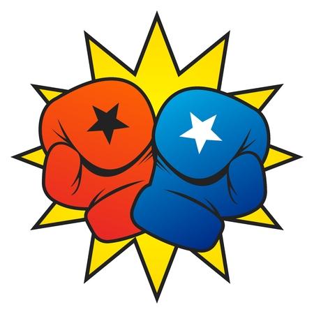 Vector Boxing Gloves Punch Illustration on white background