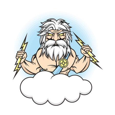 angry sky: Vector Fun Caricature of Zeus striking with thunderbolt illustration