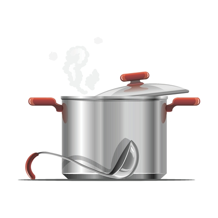cooking utensil: Vector Realistic Stainless Steel Kitchen Cooking Pot Utensil Illustration  Isolated on white background Illustration