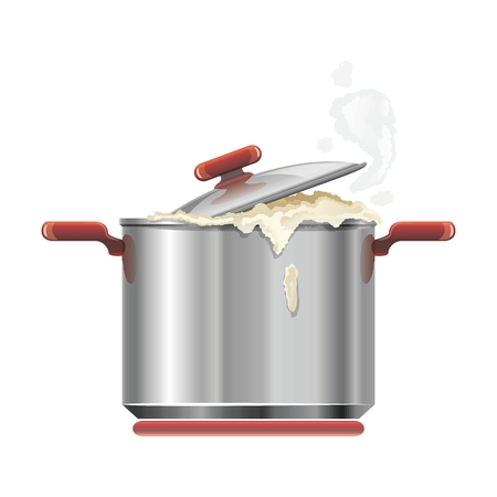stainless steel kitchen: Vector Realistic Stainless Steel Kitchen Cooking Pot Utensil Illustration  Isolated on white background Illustration