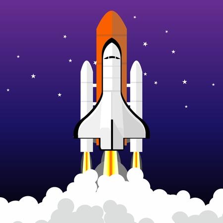 taking off: Vector Cartoon Space Shuttle taking off illustration on starry night background Illustration