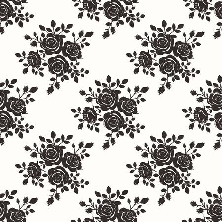 rosas negras: Sin fisuras vector Repitiendo monocromo Color Negro Rose de la vendimia del fondo del modelo Ilustración Vectores