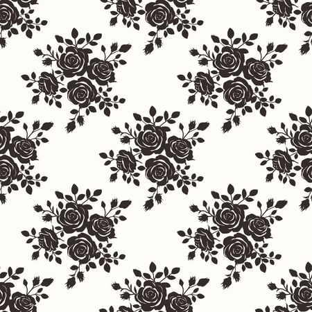 bouquets: Vector Seamless Repeating Monochrome Black Color Vintage Rose Pattern Illustration Background