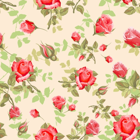 rouge: Vector Seamless Repeating Vintage Rose Pattern Background