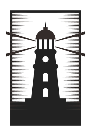 Vector Cartoon Monochrome Lighthouse Silhouette Illustration, isolated on white background
