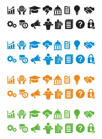 Vector Icon Set van Business Management, Minimal Flat Monochrome Stock Illustratie