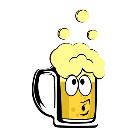 stein: Vector Cute Cartoon Beer Mug Character Illustration Illustration