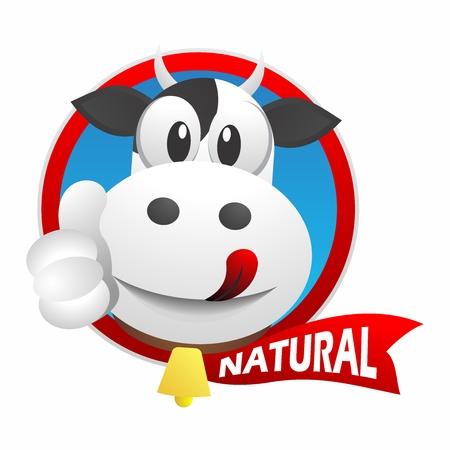 carita feliz caricatura: Vector de la historieta de la vaca lechera logo mascota, para el parachoques etiqueta de embalaje Vectores