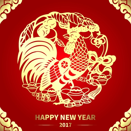 chinese new year decoration: Vector Year of Rooster Red Banner, Chinese New Year 2017