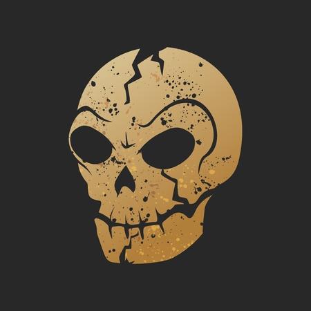 cursed: Vector Rustic Creepy Skull Logo Illustration isolated Illustration