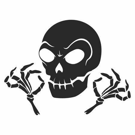 cursed: Vector Rustic Creepy Skull and finger Illustration isolated Illustration