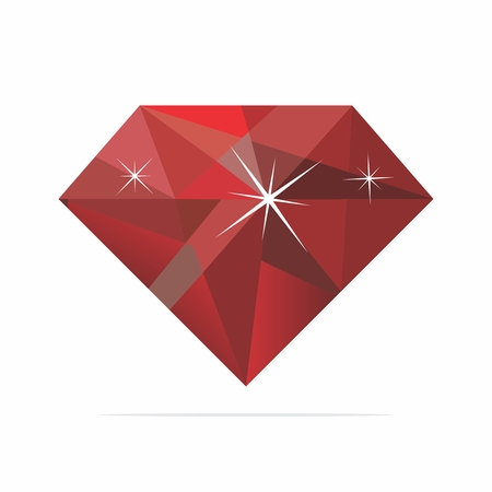ruby: Vector Realistic Shinny Reflective Ruby Illustration isolated on white background