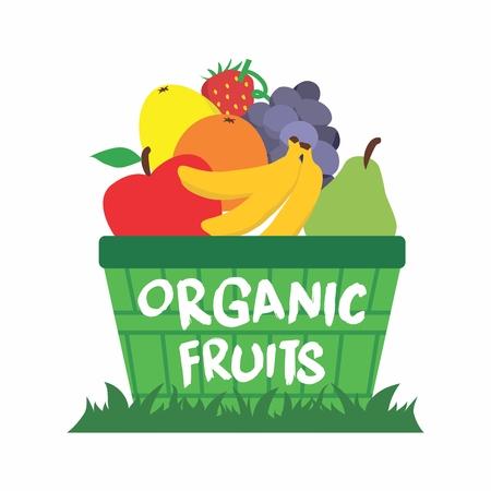 fruit basket: Vector Cartoon Organic Fruit Basket on Grass Illustration isolated on white background Illustration