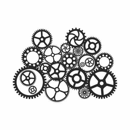 brass: Vector Antique Gear Wheels Group isolated on white background Illustration