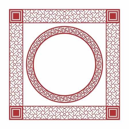 decorative pattern: Vector Chinese Border isolated on white, square and circle
