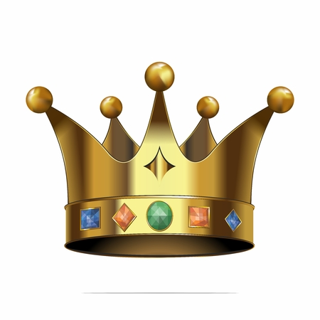 highness: Vector 3D Realistic Golden Crown with Jewelry Illustration, isolated on white background